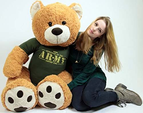 Big Plush United States Army Giant Teddy Bear Five Feet Tall Honey Brown Color Wears Tshirt That says Someone in The Army Loves You ()