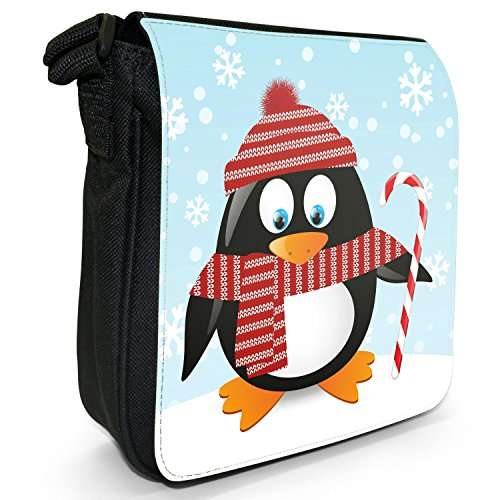 Black Season Wrapped Candy With Bag Christmas Shoulder Holiday Penguins Size Small Cane Canvas Up 7Iw5qz
