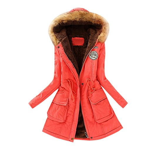 Long Autumn Slim Pocket Coat Coats Watermelon Sale Bandage Jacket Parka Collar Warm Womens Hooded Clearance Outwear Vintage Winter Red Sleeve Fur DEELIN Long vx7wqUxZ