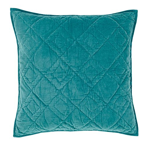VHC Brands Farmhouse Bedding - Eleanor Green Quilted Euro Sham, Teal (Euro 3 Quilted Shams Pillow)