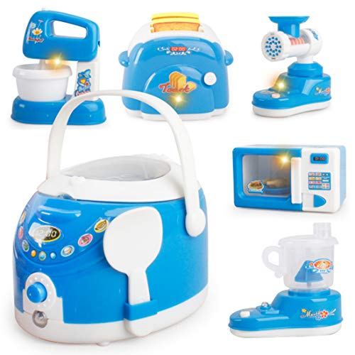Haoun Kitchen Pretend Play Toys Kid Kitchen Toys, 6PCS Household Simulation Appliances Playsets with Light and Music - Includes Blender,Microwave Oven,Juicer- Type 1
