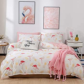 Decorative 2 Piece Bedding Set with 1 Pillow Sham Ambesonne Flamingo Duvet Cover Set Twin Size Standing Flamingos Pattern Holiday Jungle Hawaii Wildlife Illustration Pale Pink and White