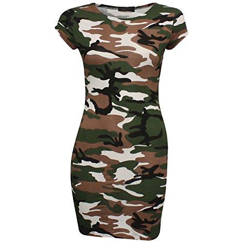 Janisramone Nouvelles Femmes Crâne Manches Courtes Rose Imprimé Moulante Tunique Extensible Mini Camouflage Top Robe Blanche
