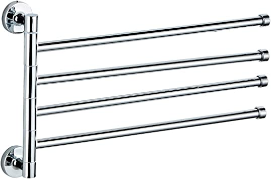 2 arm Swivel Towel Rack?Stainless Steel Swing Out Towel Bar?Space Saving Swinging Towel Bar for Bathroom?Wall Mounted Towel Holder Organizer with 4 Arms?Easy to Install