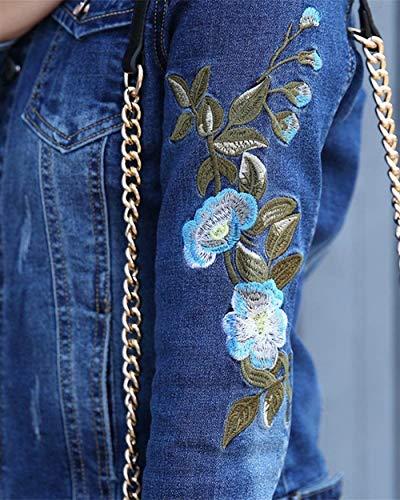 Ragazza Vintage Lunghe Donna Ricamate Autunno Als Tempo Elegante Tendenza Moda Caftano Stile Giacca Cappotto Maniche Jeans Primaverile Bavero Giacche Bild Blu Libero Chic Outerwear Streetwear T05wXB