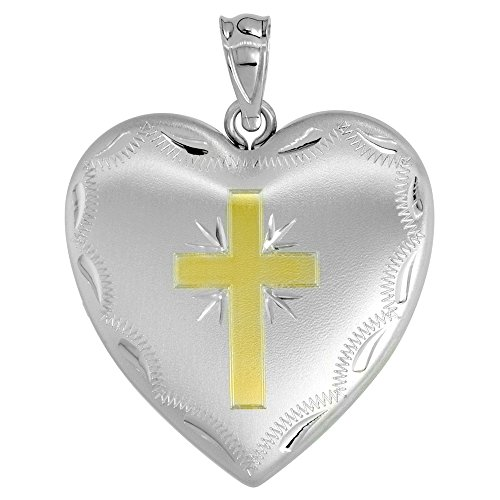 - 1 inch Sterling Silver Heart Locket Necklace for Women 4 Picture Gold Cross, 20 inch RL_30H