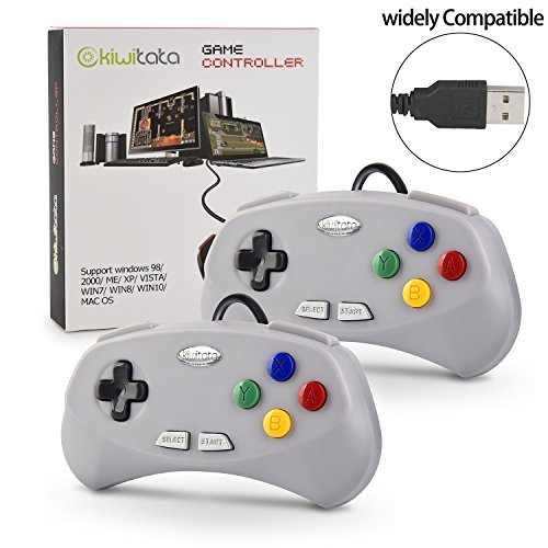 2 Pack Retro SNES Classic USB Controller Gamepad,kiwitatá SNES USB PC Wired Controller Joypad for PC Mac Raspberry Pi 3(2019 New Version)