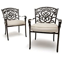 Strathwood St. Thomas Cast Aluminum Dining Arm Chair Set of 2