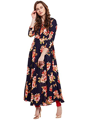 Tissu Women's Viscose Floral Printed Flared Kurta with Buttons 8XL Multi 2