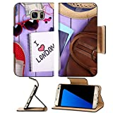 MSD Premium Samsung Galaxy S7 Edge Flip Pu Leather Wallet Case IMAGE ID: 35202477 Travel things for traveling on wooden background top view