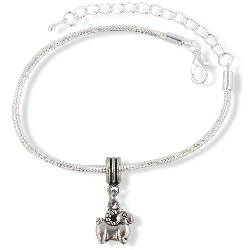 Cartoonish Snake Chain Charm Bracelet Emerald Park Jewelry Ram Mountain Goat