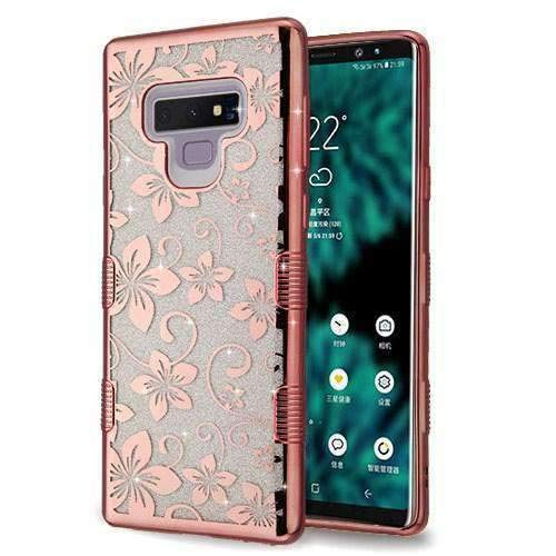 AMZER Full Glitter TUFFEN Hybrid Protector Cover for Samsung Galaxy Note9 - (Rose Gold Hibiscus Flower)