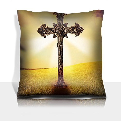 Liili Throw Pillowcase Polyester Satin Comfortable Decorative Soft Pillow Covers Protector sofa 16x16, 1pack Beautiful image of a cross in a grass field with a holy cloudy sky IMAGE ID 142866 by Liili
