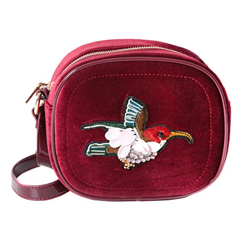 Accessoryo - Sac à main pour femme à volants rouges en velours rouge