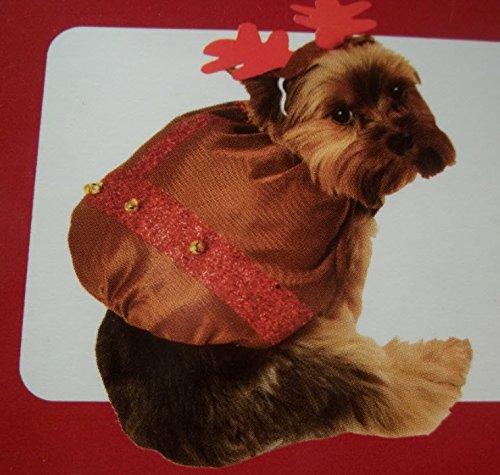 2 Elf Dog Costume (Christmas Dog Costume - Holiday Reindeer Dog Costume - Holiday Time Simply Dog Pet 2-Pc Christmas Costume Elf Santa's Helper Medium/large)