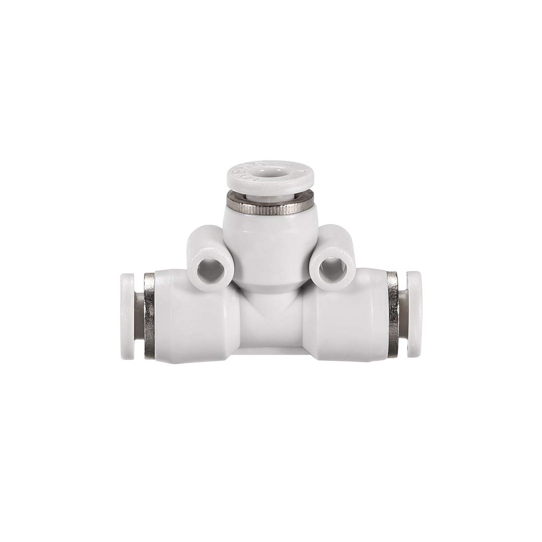 uxcell Plastic Tee Push To Connect Tube Fittings 6mm-4mm OD Push Lock White 3pcs