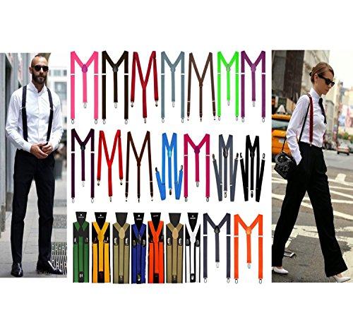 Y Form Hosenträger für Damen und Herren 3er Clip Verstellbar Elastisch mehrere Farben Unisex (Schwarz Nr.3)
