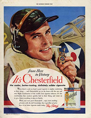 Chesterfield Cigarettes - From Here to Victory P-39 Airacobra Pilot for Chesterfield Cigarettes ad 1942 P