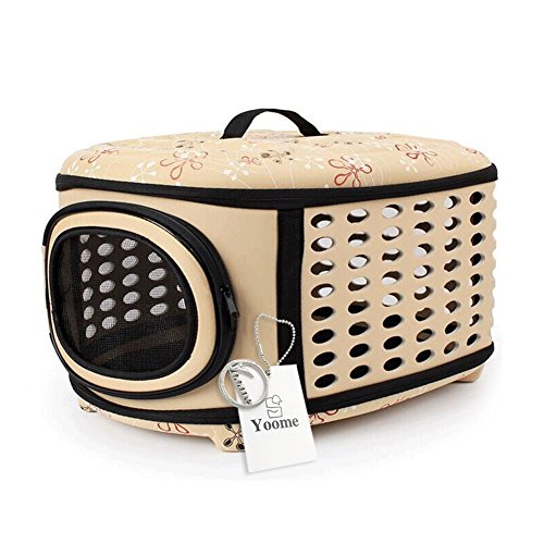 YOOME Hard Cover Pet Carrier – Collapsable Pet Travel Kennel Cats, Small Dogs & Rabbits,Portable Breathable,3 Colors Choose