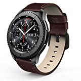 SWEES Leather Bands Compatible Gear S3 Frontier & Classic and Galaxy Watch 46mm, Genuine Leather 22mm Strap Replacement Wristband Compatible Samsung Gear S3 Smartwatch, Coffee