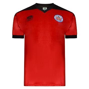 9be60f447d3 Fulham 1982 Osca Away Retro Shirt Red/Blk XLarge: Amazon.co.uk: Clothing