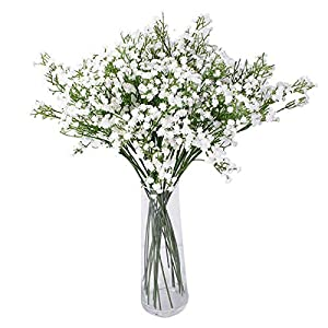 Artificial Plants, 10 pcs Faux Baby's Breath Fake PU Gypsophila Shrubs Simulation Greenery Bushes Wedding Party Decoration Real Touch Flowers DIY Home Garden 11
