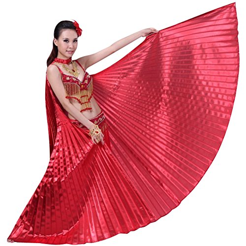 Hip Shakers Exotic Belly Dance Colorful Belly Dance Big Isis Wings Halloween Costume Props Red -