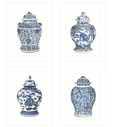 Transferware Water (Set of 4 Blue & White Ginger Jar Fine Art 8 x 10 Prints on Archival Watercolor)