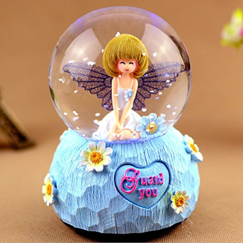 Snowflakes Ball (Angel Musical Snowglobe, Cute Lovely Waterglobe Round Decor Collection Glitter Dome Fake Falling Snowflakes LED Water Ball Crafts Crystal Snow Globe Gift for Valentine's Day Christmas Holiday)