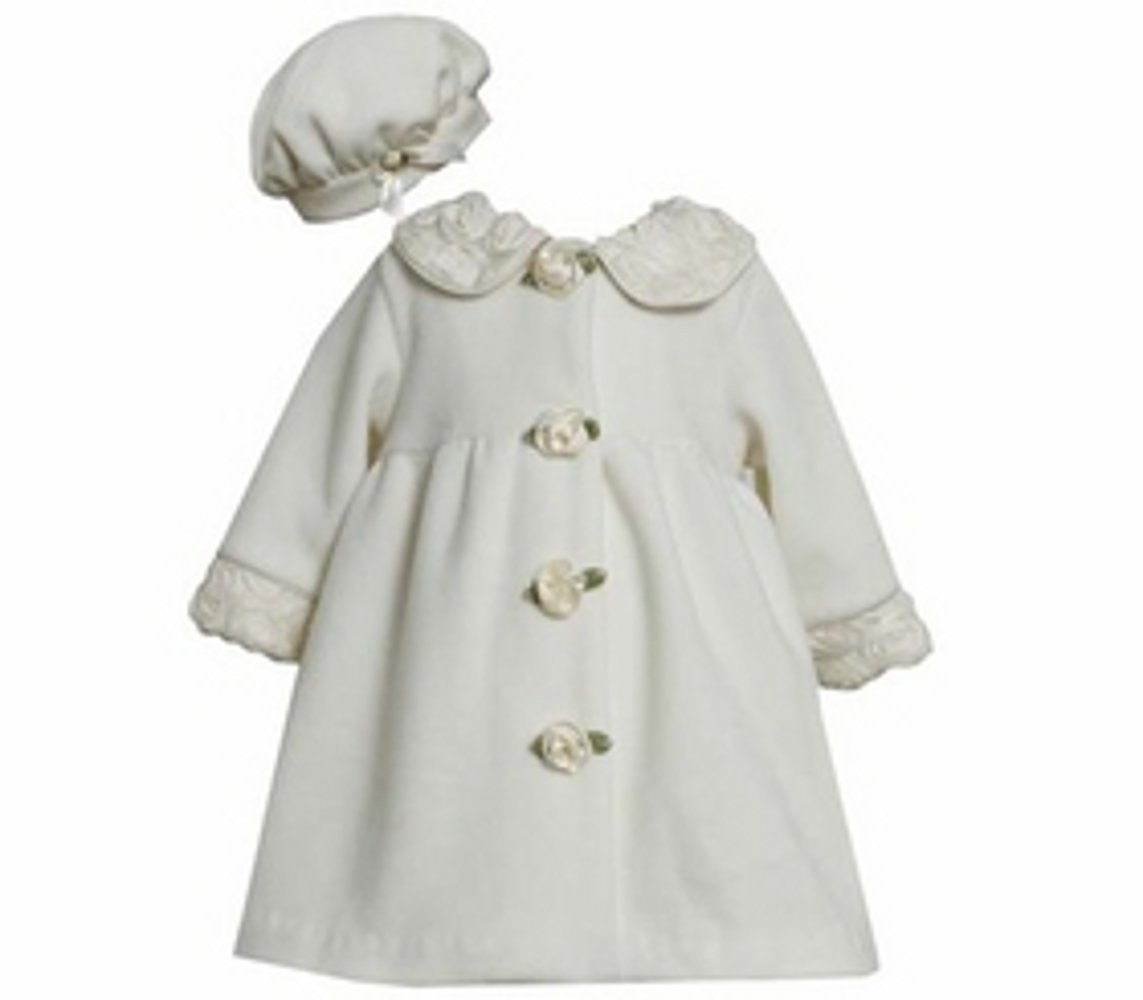 Ivory Fleece Coat with Rolled Flowers and Matching Hat 6