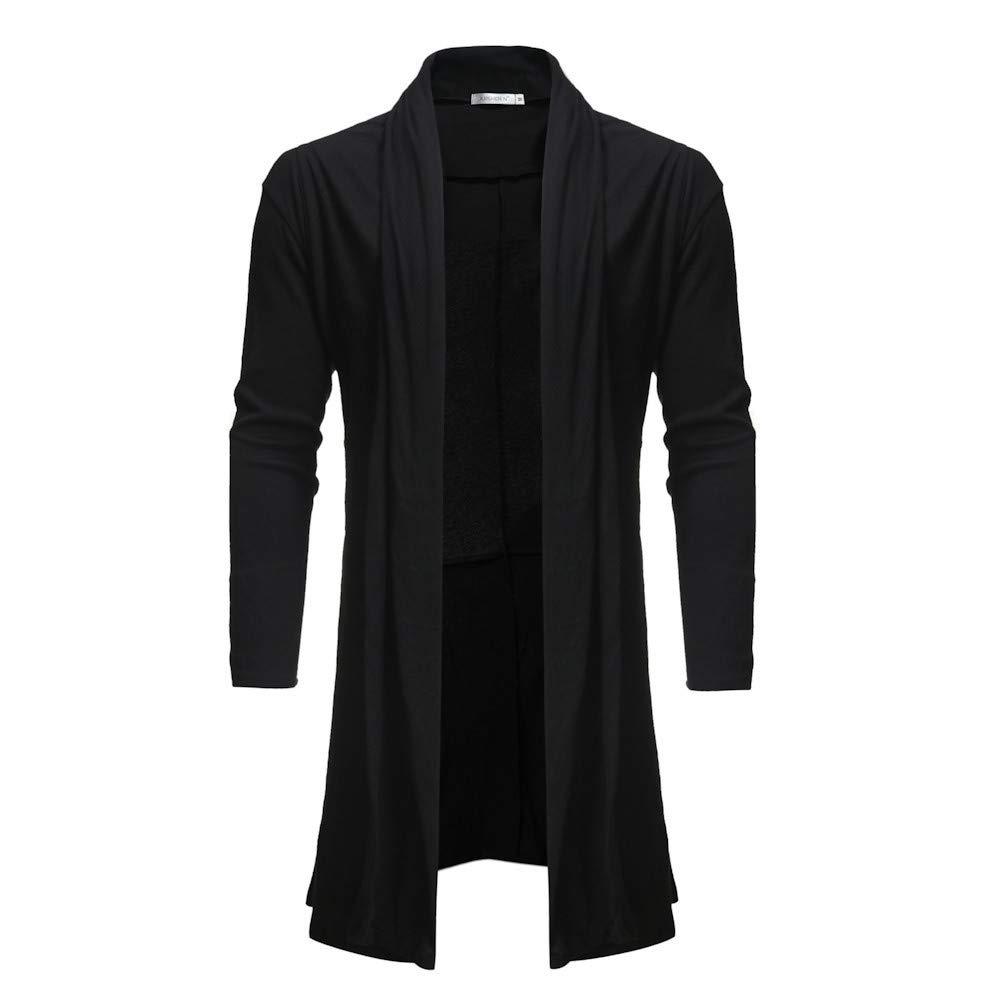 Riou Herren Strickjacke Cardigan Open Jacke Knit Beil/äufige D/ünne Mantel Sweatshirt Sweatblazer M/änner Beil/äufiger Reiner Farben Mantel Schal zuf/älliger L/ängen Gestrickter Mantel