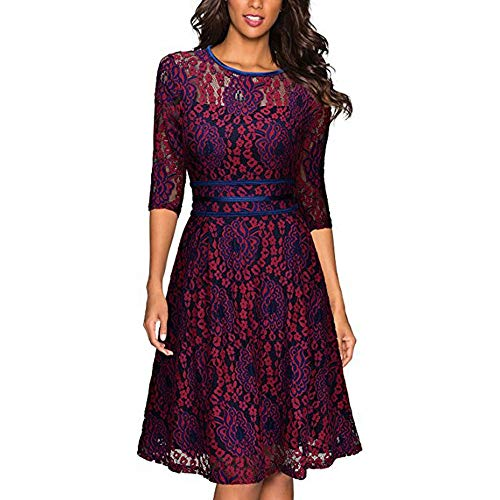 In Kervinzhang Lunga Rotondo Pizzo Donna Con A Da Scollo Swing Manica Dress Red xH8nw4HAq6