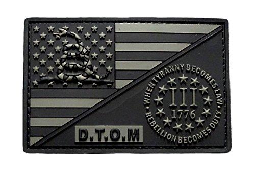 D.T.O.M USA Flag Three 3% Percenter Rebellion Tyranny Gadsden Hook Patch(3D-PVC Rubber-MTD2)