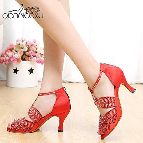 DGSA Fashion Dance Schuhe oder Sandalen Latin Dance Schuh Frauen high heel weichem Boden Seide Diamond Ballroom Dance Modern Dance, Rot 38