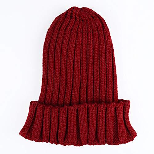 WGFGQX Unisexo Otoño E Invierno Sombrero Tejido, Color Caramelo Fluorescente Sombrero Cálido,Lightpurple winered