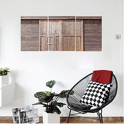 Liguo88 Custom canvas Industrial Decor Old Wooden Timber Oak Barn Door Farmhouse Countryside Rural House Village Artsy Print Wall Hanging for Bedroom Living Room Brown - Oak Finish Farmhouse