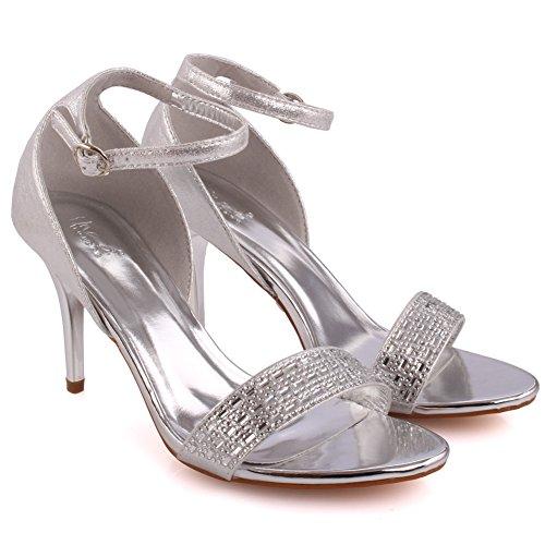 Unze Mujeres 'Jollity' Tassel Detalle Bajo Mediados de Alto Talón Partido Prom Reunión Brunch Carnaval Boda Tarde Sandalias Talones Zapatos Uk Tamaño 3-8 Plateado