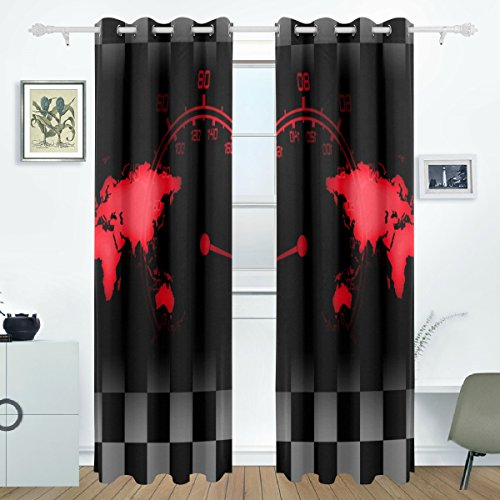 AIDEESS World Race Blackout Curtains Darkening Thermal Insulated Polyester Grommet Top Blind Curtain for Bedroom, Living Room,2 Panel (55W x 84L Inch) (Thermal Race)