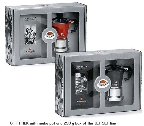gift set of moka maker stovetop with coffee