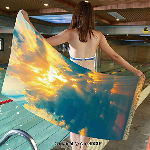 AngelDOU Printed Bath Sport Travel Beach Towels Golden Rays of The Sun Breaking Through The Storm Clouds Bursting Image Decorative Men Women Shower Towels.W31.4xL63(inch) ()