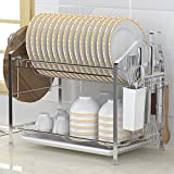 Hyun times 304 Stainless Steel Dish Rack Double Layer Of Dishui Bowl Shelf Supplies Put Bowl Chopsticks Dish Rack Rack