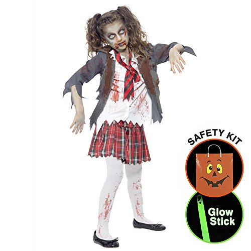 [Girls Zombie School Costume Halloween Trick or Treat Safety Kit Large] (Zombie School Girl Adult Womens Costumes)