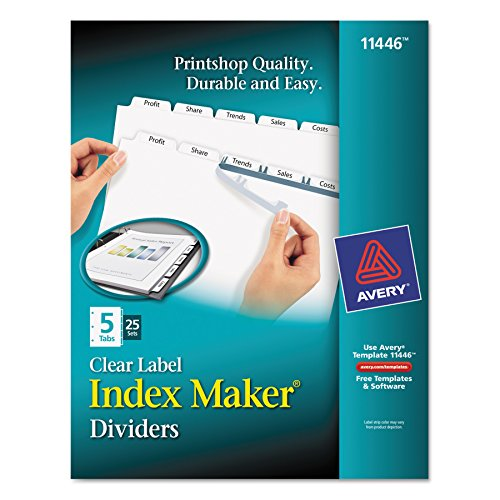 Avery Print & Apply Clear Label Dividers, Index Maker Easy Apply Printable Label Strip, 5 White Tabs, 25 Sets (11446) Avery Index Maker White Dividers