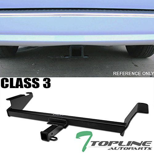 "Topline Autopart Class 3 III Matte Black 2"" Rear Bumper Trailer Tow Hitch Towing Mount Receiver Tube For 08-18 Dodge Grand Caravan ; 08-16 Chrysler Town & Country ; 12-16 Ram Cargo Van ; 09-14 Routan"