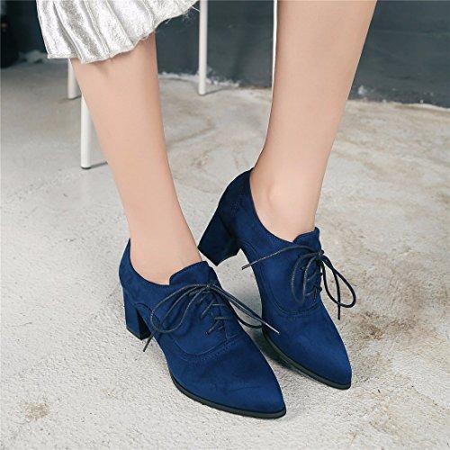 Tacón de Zapatos Suede Altos Señaló Tacones Blue Esmerilado Calzados de Femeninos Cashmere Zapatos ZUwC05q5