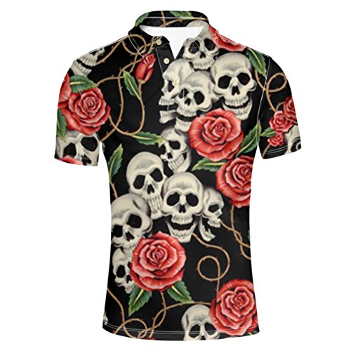 Male Sugar Skull (HUGS IDEA Classic Men's Golf Polos Shirt Sugar Floral Skull Retro Short Sleeves Summer Punk Rock)