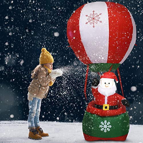 Tangkula 6 Ft Christmas Inflatable Santa Claus Hot-air Balloon Self Inflating Electric Blow Up Lighted Interior with Fan and Anchor Ropes, Indoor Outdoor Garden Yard Family Prop Decoration