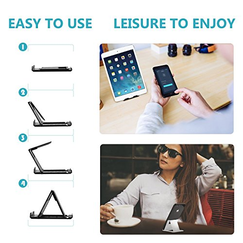 Elimoons Phone Stand, 2 Pack Cell Phone Stand, Universal Foldable Tablet Stand Multi-Angle Pocket Desktop Holder Cradle Compatible Phone XR XS Max X/8/7 Plus/7/6s/6/5/4 SE, Tablets (6-11)
