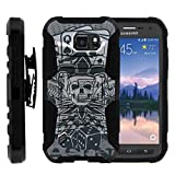 TurtleArmor | Compatible for Samsung Galaxy S6 Active Case | G890 [Hyper Shock] Hybrid Kickstand Cover Holster Belt Clip Hard Protector Gambling Casino Set - Joker Skull