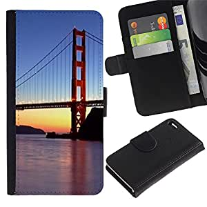 Be Good Phone Accessory // Caso del tirón Billetera de Cuero Titular de la tarjeta Carcasa Funda de Protección para Apple Iphone 4 / 4S // Francisco Golden Gate Bridge Sunset River